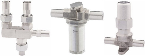 Three-way valve, filter and Shut-off valves with adjustable connections